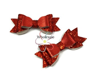 "Red Glitter Leather Bows - 3.5"" Stacked Shimmery Bow with Tails - Faux Leather  Double Loop DIY Bows Headband Supplies - Set of 2 Bows"