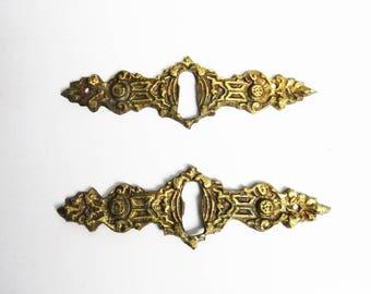 2 antique / vintage French brass keyhole cover, brass escutcheon, keyhole cover, keyhole plate, furniture hardware, restoration renovation