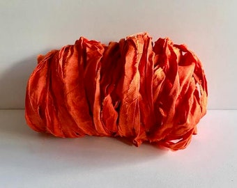 Recycled Sari Silk Ribbon-Orange Sari silk-10 Yards