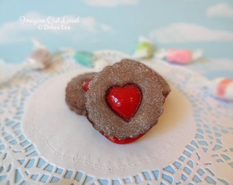 Fake Cookies Chocolate Cherry Sandwich Linzer Tart Round Heart