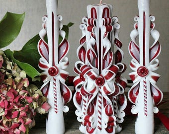 Burgundy wedding - Carved candles - Candle set - Home decor - Unusual gift - Wedding candles