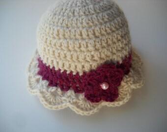 Crochet Baby Hat Cream and Berry Alpaca Wool Infant Hat