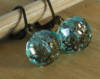 Sky Blue Crystal and Bronze Earrings