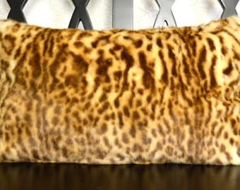 Leopard Lumbar Pillow, Faux Fur Pillow, Leopard Print Faux Fur Pillow, 12x20, Decorative Pillow, Throw Pillow Ready to Ship