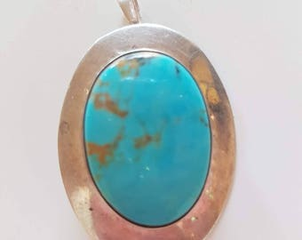 Vintage Turquoise silver broach and pendant sterling silver broach,Natural turquoise broach