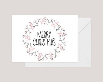 Printable Merry Christmas Card | Greeting Card | Holiday Card | | Xmas Card | A2 Card | Christmas Wreath Card | Simple Christmas Card