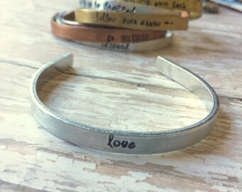 Mixed Metal Hand Stamped Personalized Cuff- Love- Bangle Bracelet Perfect for Stacking and Layering - Personalized Gift For Women