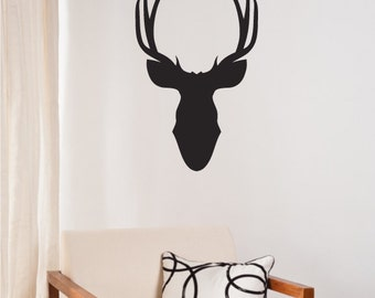 Moose Head Wall Decal Sticker - Vinyl Wall Art Decoration Design For Home Decor UK. Mural, Wallpaper, Gift, Animal, Office, Gift