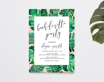 Bachelorette Party Invitation, Bachelorette Weekend, Palm Print, Tropical, Pink (1116)