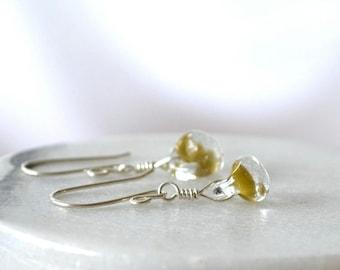 Olive Green Earrings, Glass Drop Earring, Teardrop Earrings, Small Earrings, Lampworked Glass Earring
