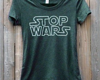 STOP WARS Women's Scoop Neck Tee Shirt