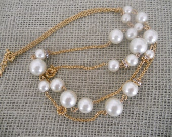 Vintage J Crew Statement Necklace.Pearl and Crystal Women's Necklace.Jewelry.