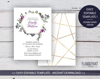 MUTED FLORAL Suite - Bridal/ Couple's Shower - Editable Template - Faded Florals & Gold-Effect Geometrics - Printable - Instant Download