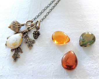 Forest Moon Necklace Fall Forest Charms Long Pendant Necklace Brass Oak Leaves Czech Glass Boho Moon Necklace Outdoors Gift for Nature Lover