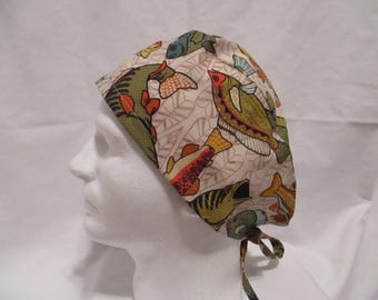 Men's Scrub Hat with Colorful Fish on Beige