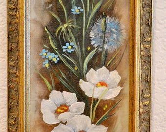 "Vintage Oil Floral Painting, Signed Crummer 1977, White Cosmos & Other Flowers, 5"" x 15"""