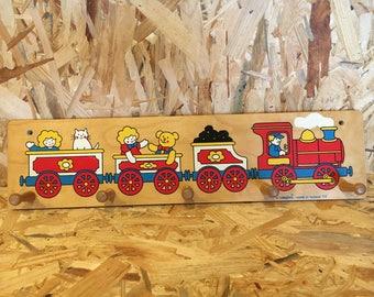 Vintage Wooden Coat Rack Train