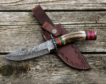 "10"" Inch Custom Hand Made Forged Damascus Steel Hunting Bowie Knife Fixed Blade Deer Antler Handle With Leather Sheath Full Tang"