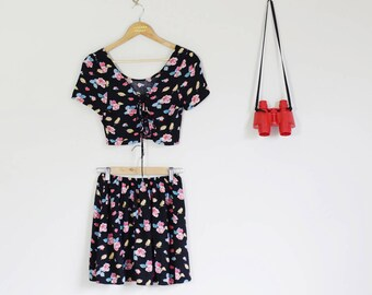 Altered + 90s Floral Set with Tie Up Crop and Mini Skirt Cute Lolita 90s C