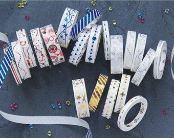 Set of 5 Slim Foil Washi Tapes - Planner, Journal, Craft, Scrapbooking, Decoration
