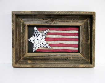 Patriotic USA Flag with Buttons for Stars, Folk Art American Flag, Framed in Reclaimed Barn Wood, Primitive American Flag, American Folk Art