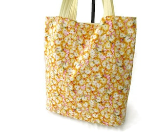 Knitting Tote Bag – Large Knitting Tote Bag – Yellow Knitting Bag – Fabric Knitting Tote – Pink Crafters Bag – Crafters Tote –Large Tote Bag