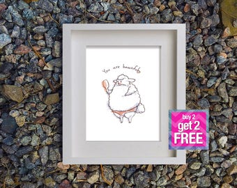 Motivation Print, Printable Art, motivation poster, digital art, Wall Art,  Sheep Wall Decor, Digital Download, positive wall art, printable