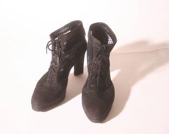 Vintage 1990s Netted Chunk Heel Bis Charles Jourdan Lace Up Black Suede Ankle Heel size 8.5