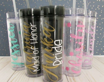 Personalized Tumbler - Monogram Tumbler - Custom Cup - Wedding Party Favors - Bridesmaid Tumblers - Tumbler with Straw