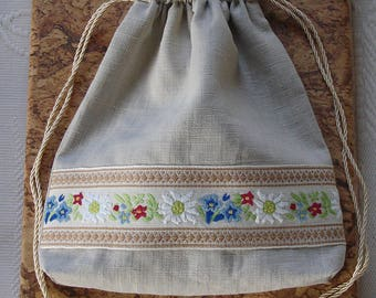 Edelweiss and Gentiane Linen Drawstring Bag