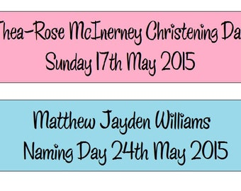 Personalised Christening Naming Day Confirmation Baptism First Holy Communion Ribbon Banner