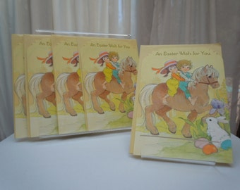 "Vintage 70's Hallmark  Easter Cards ""An Easter Wish for You""  for Boy or Girl Horse Theme- Set of Five- 5"" x 7"""