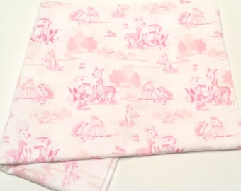 Brushed cotton white and pink toile print with deers and bunnies - XL baby blanket -classic baby girl