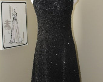 Vintage Black Beaded Dress-Short-Sleeveless-Full Skirt-Fit N Flare-All Beaded-80's-Size US Medium