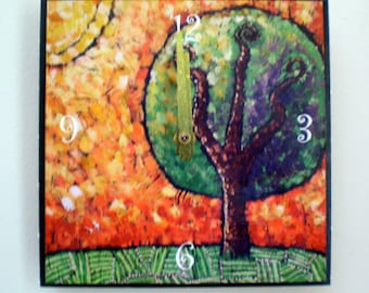 Tree Clock, Landscape, Colorful Clock, Orange, Yellow, Sunset, Whimsical, Nature, Clock 6 x 6 inches