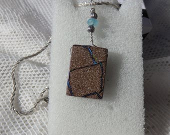 "24.50 Carat Boulder Opal "" Tributary 1 "" Natural Australian Boulder Opal, Unique, Hand Crafted Bail,Sterling Chain"