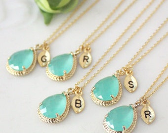 Bridesmaid gifts - Set of 3, 4, 5, 6 - Leaf initial, Mint crystal drop necklace, Gorgeous Drop ,stone in twisted bezel, B0083-G