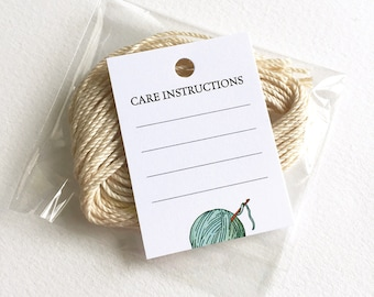 "Knitting Crochet Care Tags, Clothing Care, Washing Instructions, 24 Knitting or Crochet Tags, Gift for Knitter, 1.5"" x 2"" or 2"" x 3.5"""