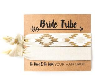 Ivory Hair Tie Bachelorette Favor | Ivory + Gold Tribal Hair Tie Favors, Boho Bachelorette Party Hair Tie Favors, Bridesmaid Gift Hair Ties