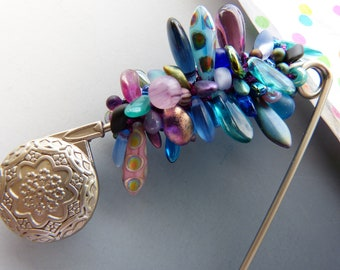 Large Safety Pin Brooch with Crocheted Beads