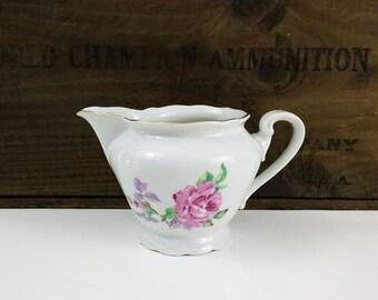Pink Rose Creamer Pitcher / Fine Bohemian China Czechoslovakia