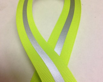 "7/8"" Neon Lime Reflective Glo Grosgrain Ribbon - Silver Reflective Stripe -100% Polyester / Sports - Reflective Ribbon"