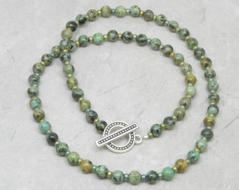 African Turquoise Necklace - Handmade Jewelry - Beaded Necklace