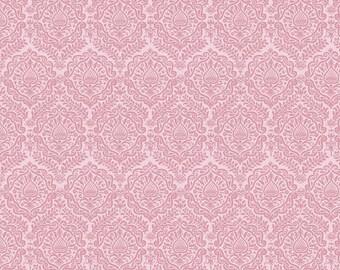 Pink Damask Fabric/ Pink Damask/ Garden Girl Fabric/ Pink Fabric/ Pink Floral/ Riley Blake Fabric/ Pink Cotton Fabric/ Light Pink Fabric