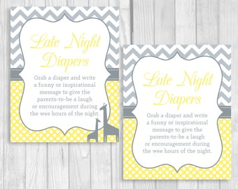 SALE Late Night Diapers 8x10 Printable Baby Shower Sign in Yellow and Gray Chevron and Polka Dots - Giraffe Optional - Funny Advice