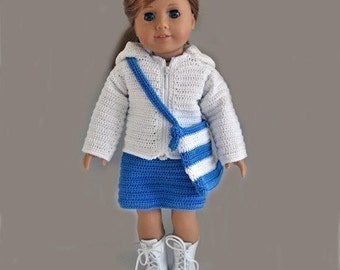 Instant Download - PDF Crochet Pattern -Hoodie, Skirt and Bag to American Girl Doll or similar 18 inch Doll