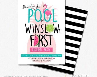 "Pool Party Invitation | Printable Digital Pool Party Invite | Tropical Birthday Invitation | Pineapple Party - 5X7 with *bonus reverse side"""