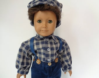 For 18 inch dolls-  Pioneer Boy Outfit early 1830s-1860s- Shown on my American Boy Doll