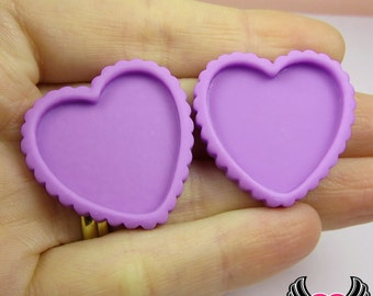 Purple Resin Cameo Setting (5 pieces), Heart Bezel, Blank Heart Frame, Flatback Heart Cameo Frame, Heart Tart Base, Resin Cameo Setting