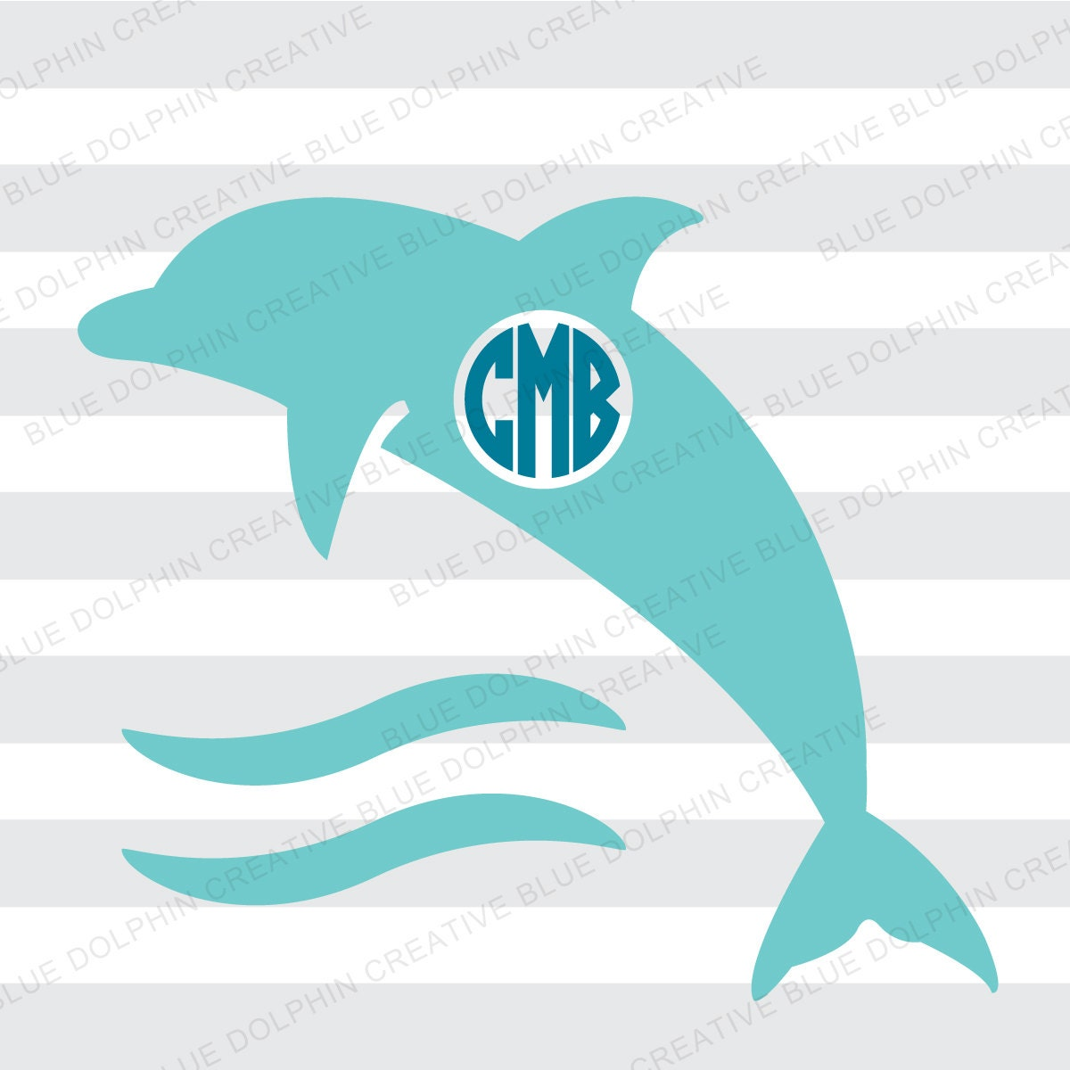 Dolphin With Waves Monogram Frame Svg Png Cricut